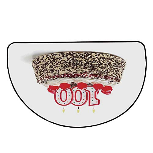 100th Birthday Decorations Comfortable Semicircle Mat,Photo of Pastry Party Cake with Candles and Sprinkles Image for Living Room,35.4