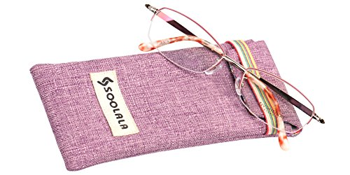 SOOLALA Ladies' Titanium Alloy Semi-Rimless Carved Arms Reading Glasses, Pink, - Reading Uk Glasses Buy