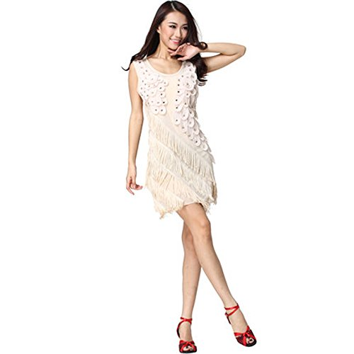 Ballroom Dress Flowers Decor Latin Dance Skirt Competition Prom Wear beige (Competition Dance Costume For Sale)