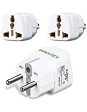 Incutex stekkeradapter reisadapter type G, A, B, D op type F universele reisstekker VS UK naar EU DE Schuko Travel Adapter Plug zwart wit 2x wit