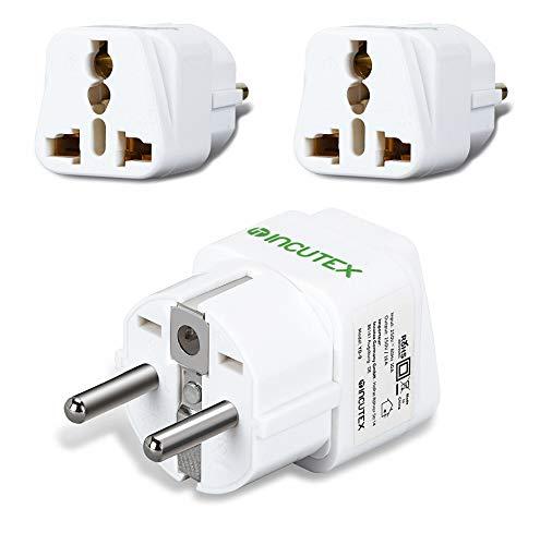 Incutex 2 x stekkeradapter reisadapter type G, A, B, D op type F universele reisstekker US UK naar EU DE Schuko travel…
