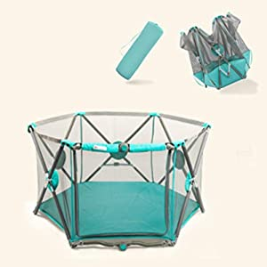 Large Playpen for Babies Activity Center, Baby Playards Hexagon Indoor Safety Baby Fence with Breathable Mesh and Storage Bag