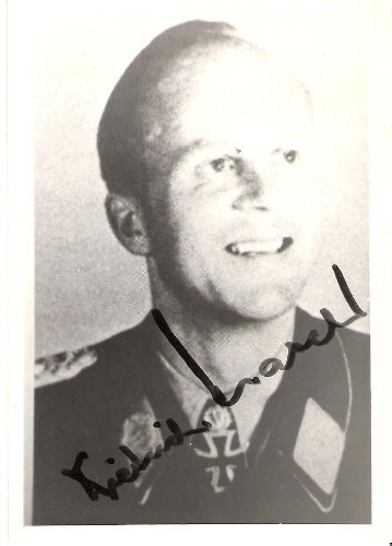 DIETRICH HRABAK - GERMAN WW2 Fighter ACE - During WW2 He Shot Down 125 Enemy Aircraft Signed 3.5x5 B/W Photo