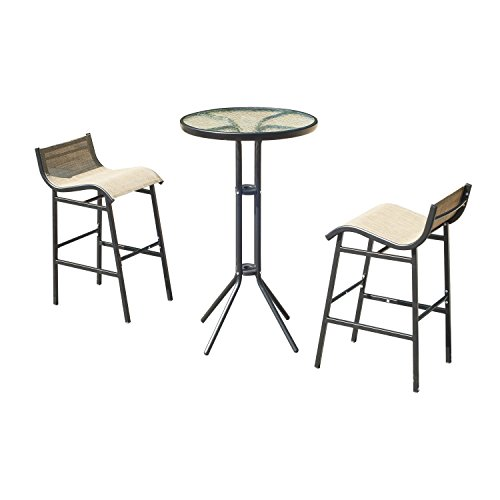 (Outsunny 3 pc Outdoor Patio Pub Bistro Table & Chairs Set)