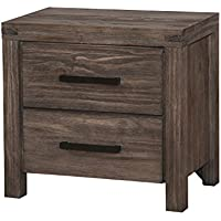HOMES: Inside + Out IDF-7382N Gerrard Rustic Nightstand, Wire-brushed Rustic Brown