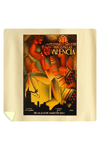 Festividad de San Jose Tipicas Fallas - Valencia Vintage Poster Spain c. 1940 (88x88 Queen Microfiber Duvet Cover) by Lantern Press
