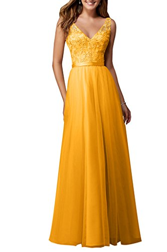 Bodenlang Abendkleider Partykleid Golden Neu Neck Damen Ballkleider V Spitze Ivydressing Tuell x60HCYTqwn
