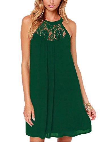 DREAGAL Women's Scoop Neck Loose Fit Floral Lace Mini Dress Dark Green Small -
