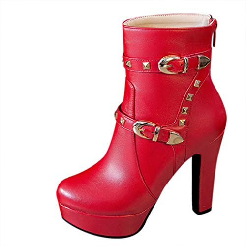 JUSTWIN Women's Round Head Thick Heel Boots Ladies Waterproof Platform Sexy Boots Red