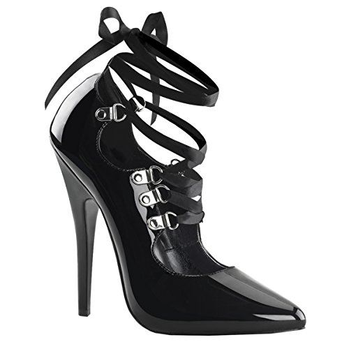 Summitfashions 6 Inch Sexy Shoes Fetish Heel Strappy Pump Shoes With Ribbon Lace Up Ankle Wrap Size: 11