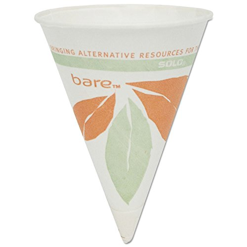 SOLO 4BRBB Bare Paper Cone Water Cup, 4 oz. Capacity (25 Sleeves of 200) by SOLO