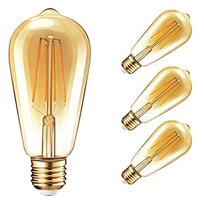 Vintage Edison Dimmable LED Light Bulbs, Newpow 7W (70 Watt Equivalent) Antique Amber Gold Filament Light Bulb, Warm Color 2400K - 30,000 Life Hours - 500 Lumens - ST64 E26 Base - UL Listed (4-Pack)