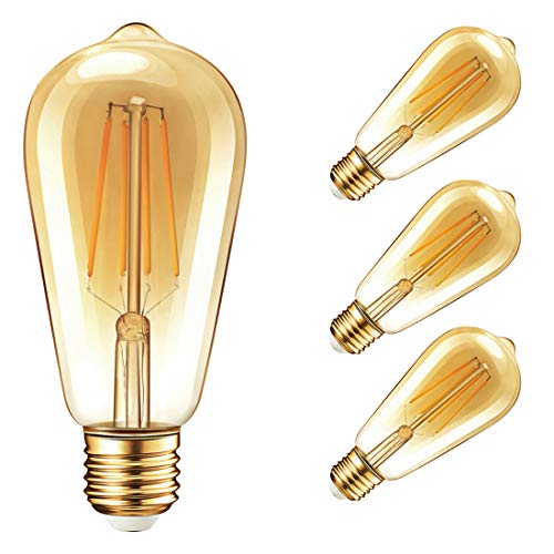 500 Series Gold (Vintage Edison Dimmable LED Light Bulbs, Palawell 7W (70 Watt Equivalent) Antique Amber Gold Filament Light Bulb, Warm Color 2400K - 30,000 Life Hours - 500 Lumens - ST64 E26 Base - UL Listed (4-Pack))