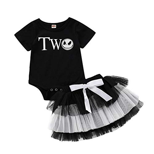 Toddler Baby Girl Short Sleeve Romper Jumpsuit Tutu Skirt Outfit,Crytech Funny Skull Letter Print Bobysuit Splice Layer Tulle Party Dress for Halloween Costume Photoshoot Clothe (3-6 Months, Letter)