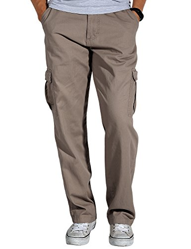 Match Men's Loose-Fit Straight Stretch Twill Cargo Pants (34, 6066 Dark Khaki)