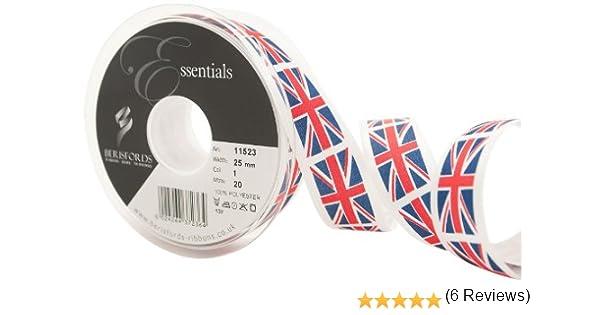 Berisfords Cinta con la Bandera del Reino Unido 11523 de 20 m x 25 mm, Color Rojo, Blanco y Azul: Amazon.es: Hogar