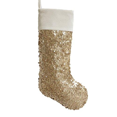 (Gireshome Gold Sequin Blingbling Glitter with white velvet cuff Christmas stocking Xmas Tree Decor Festival Party Ornament)