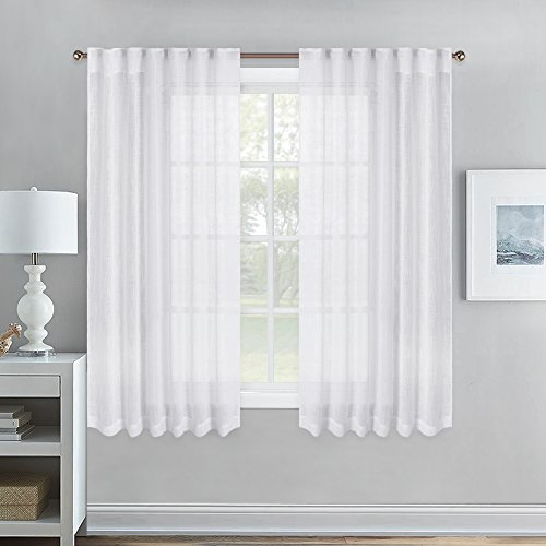 NICETOWN Sheer Curtains for Small Window - Thick Linen Look Semi-voile Vertical Drapes for Kitchen & Dining Room, 52 Inch Width by 45 Inch Length Per Panel, 1 Pair