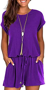 Womens Summer Short Casual Cute Rompers and Jumpsuits with Pockets