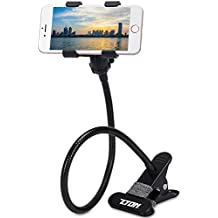 METAL-ENHANCED Cell Phone Holder, ZTON Mobile Phone Stand, Lazy Bracket, Flexible Long Arms Clip Mount for iPhone, LG, etc.in Office Bedroom Desktop (Black)