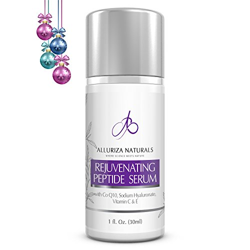 Rejuvenating Peptide Face Serum by Alluriza Naturals, Anti Aging, Anti Wrinkles, Collagen Booster, Brightening, Antioxidants, Hyaluronic Acid,Vitamin C E,CoQ10, Improves Elasticity & Discoloration,1oz
