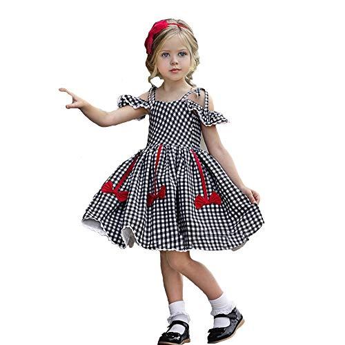 Newborn Kids Baby Girl Dress Tutu Sleeveless Ruffled Plaid Straps Dress Princess Party Dress Clothes (4-5 Years, Black Plaid Sling Dress)