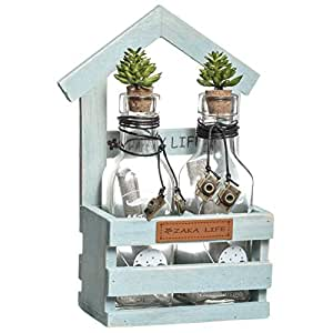 Tommy's Creative Lifestyle Two Wish Bottles With Roof-top Wooden Frame
