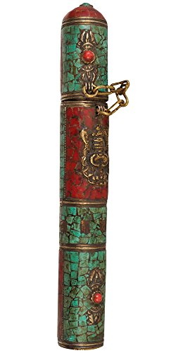 Tibetan-Buddhist-Incense-Sticks-Holder-Copper-and-Brass-with-Inlay