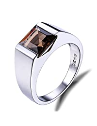 Jewelrypalace Men's 2.3ct Square Natural Smoky Quartz 925 Sterling Silver Ring