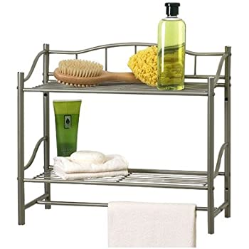 this item bathroom double wall shelf organizer with towel bar brushed chrome pearl nickel