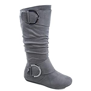 Top Moda Bank-81 Women's Fashion Round Toe Flat Heel Zipper Buckle Slouchy Mid-Calf Boot Shoes (6.5, Grey)