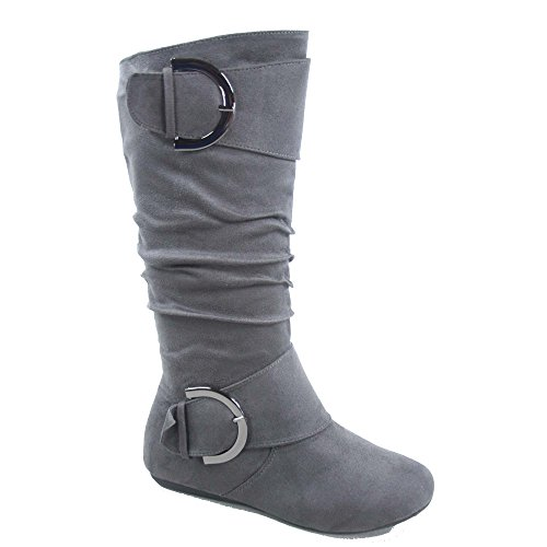 Top Moda Bank-81 Women's Fashion Round Toe Flat Heel Zipper Buckle Slouchy Mid-Calf Boot Shoes (7.5, - Flat Top Round