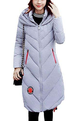 Invierno Parkas Con BF Estilo Outwear gris Acolchado Con Largo Cordon Capucha Mujer De gw84qx