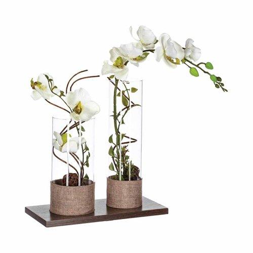 Molto Composizione fiori artificiali, orchidee - H. 45 cm - 2 Vasi  JN31