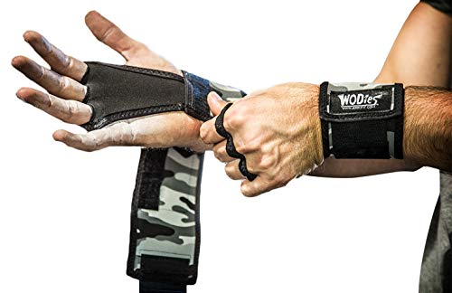 JerkFit WODies Full Camo 2in1 Combined Wrist Wraps, Palm Protection (Large, Grey Camo)