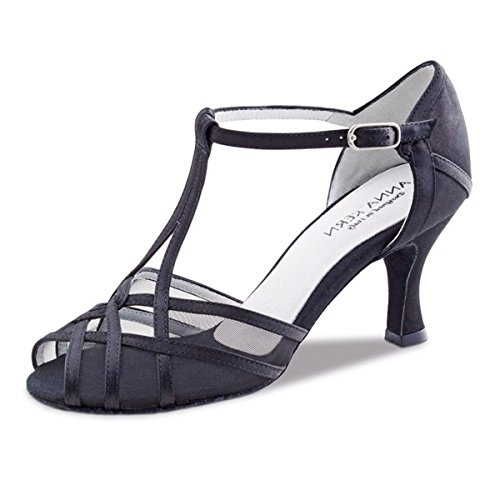 Anna Kern - Mujeres Zapatos de Baile 640-60 - Satén Negro - 6 cm Negro