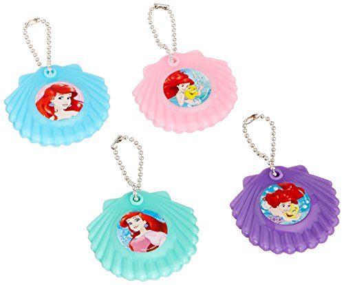 Amscan Enchanting Disney Ariel Dream Big Birthday Shell Mirror Keychains Party Favor (12 Piece), Multicolor, 2 1/4