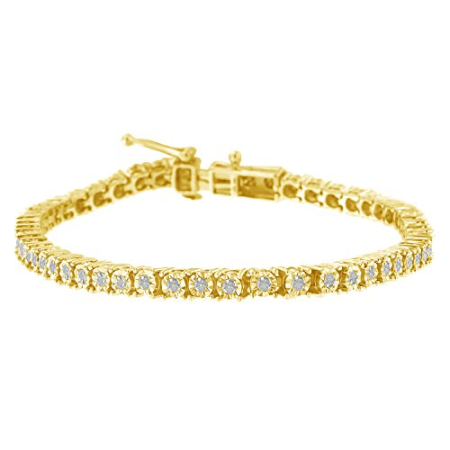 Yellow Plated Sterling Silver Rose-cut Diamond Tennis Bracelet Size 8. (1 cttw, I-J Color, I3 Clarity) (Best Diamond Color And Clarity)