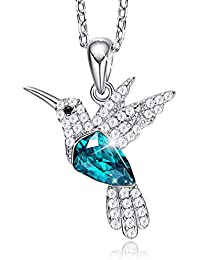 Hummingbird Necklace for Women S925 Sterling Silver Animal Jewelry Green/Blue Crystals from Swarovski Bird Pendant Necklaces Gifts for Girls