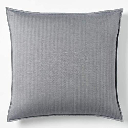 (Robert Graham Home Herringbone Charcoal Italian Percale Woven with Extra-Fine Long Staple Cotton Euro Pillow Sham (Euro))