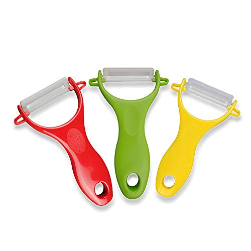 peelers for kitchen, Ceramic Blade Peelers for Fruit, Potato,Vegetable Set of 3-Yellow/Red/Green