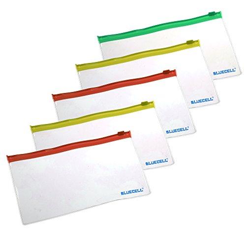 BCP 5pcs Clear Color PVC Plastic Soft Zipper Bill Bag, Pencil Pouch Pen Bag, 7-1/2 x 4inches - Zipper Random Color