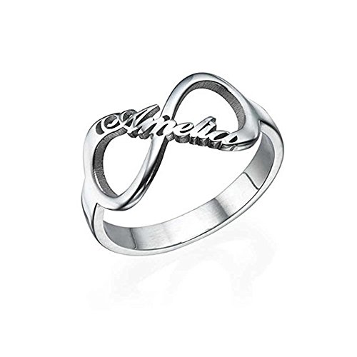 Shiny Alice Engraving Infinity Friendship Rings for Women Personalized Sisters Best Friends Rings Engagement Wedding Bands Promise Name Rings (Silver 12)