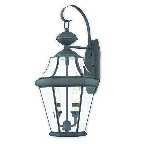 Georgetown 2 Light - Livex Lighting 2261-61 Georgetown 2 Light Outdoor Wall Lantern, Charcoal