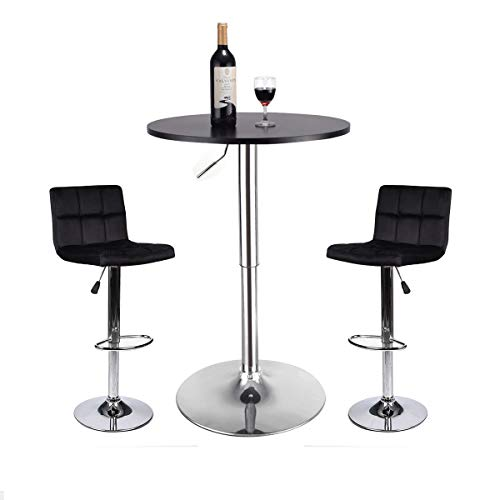 Bar Table and Stools Set - Pub Table and Chairs Set 3 Piece Adjustable Bar Height Table 24 Inch Modern Swivel Counter Height Bar Stools Set of 2 for Kicthen Home Pub