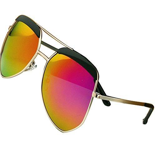Sumery Unisex Metal Fashion Big Frame Polarized Sunglasses Women Men UV400 (Gold, - Junior Gaultier Sunglasses