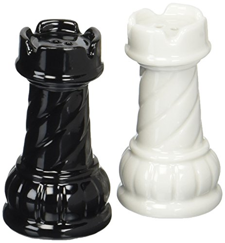 (Cg SS-CG-56702, 2.75 Inch Black and White Ceramic Chess Rooks Salt and Pepper Shakers)