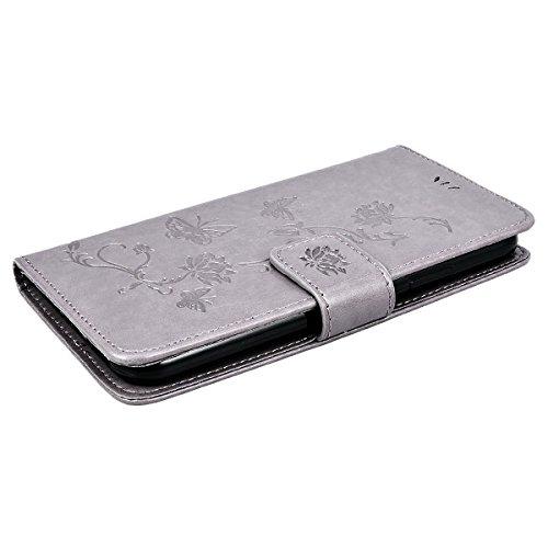 Abdeckung Iphone X Bücher braun Muster Blumen und Schmetterlinge, Smart Legend Handy Premium Leder und Silikon TPU mit Geldbörse Card Slot 360Grad Schutzhülle, Flip Bumper Case