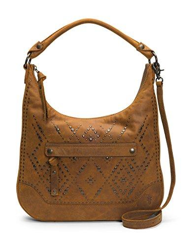 (FRYE Melissa Studded Large Zip Hobo Handbag, Brown)