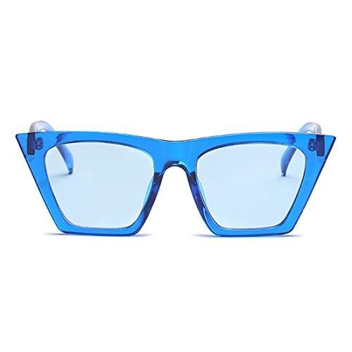 Style Yefree marco Azul plástico Sunglasses Vintage Oval Eye Women Retro Cat Lens vUv0qar